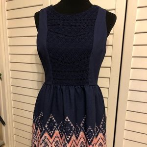Navy Dress with Coral detail